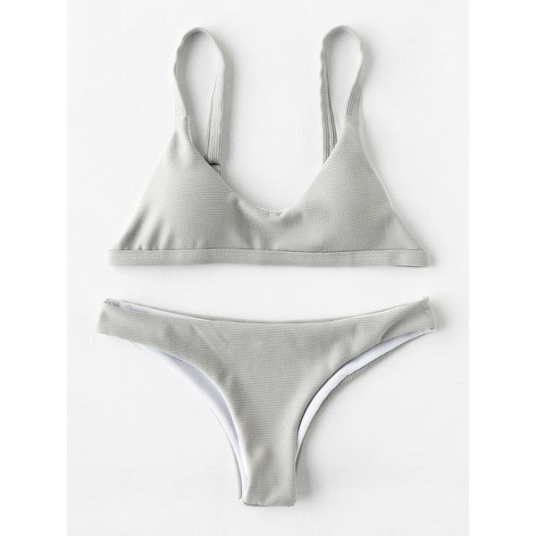 SheIn(sheinside) High Leg Textured Bikini Set (160 ZAR) ❤ liked on Polyvore featuring swimwear, bikinis, grey, bikini swimwear, bikini swim wear, bikini beachwear and bikini two piece