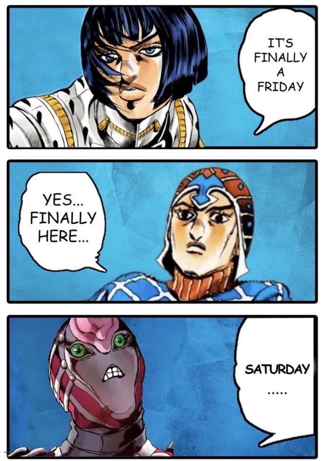 Jojo Friday Meme : friday, Crimson, Experience, JoJo's, Bizarre, Adventure, Jojo's, Adventure,, Bizzare
