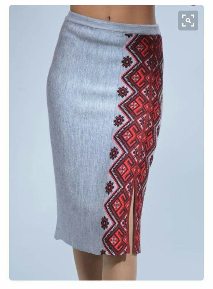 Pencil skirt with Ukrainian motif