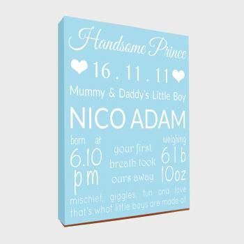 'Little Princess/Prince' Personalised Canvas 6