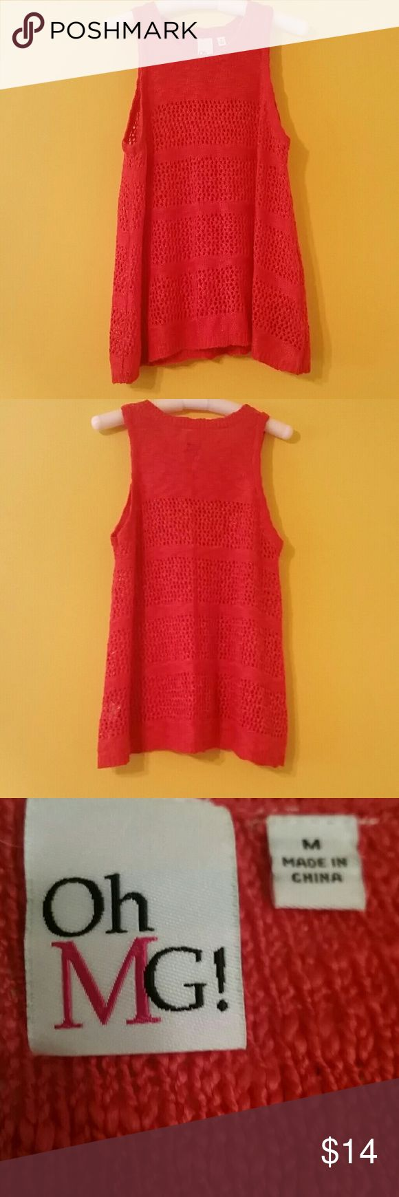 Sleeveless sweater**MAKE OFFER** Super cute coral sleeveless sweater. Perfect for any season. Brand new WT. Size medium. Offers welcome!! OMG Sweaters Crew & Scoop Necks