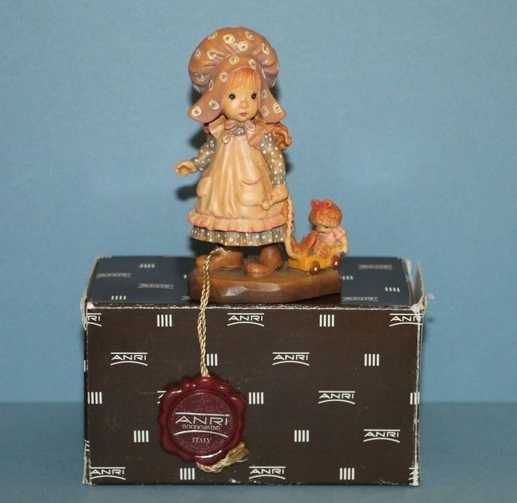 "ANRI Wood Carvings Playtime Girl Pulling Wagon Sarah Kay 4"" figurine in box"
