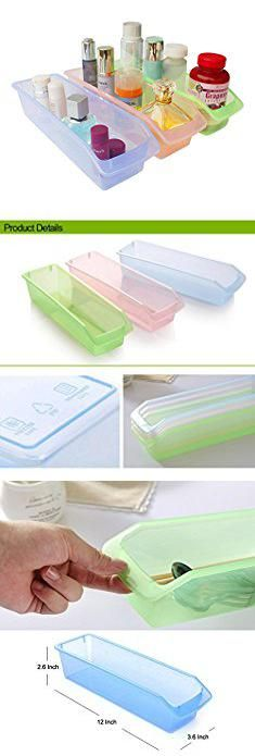 Long Narrow Plastic Containers. Honla Small Plastic Drawer Organizer Trays/Bins-Set of 3-Clear Drawer Dividers for Kitchen Cabinet/Bathroom Vanity/Office Desk/Desktop Storage Organization-Pink,Lime Green,Light Blue,12-Inch.  #long #narrow #plastic #containers #longnarrow #narrowplastic #plasticcontainers