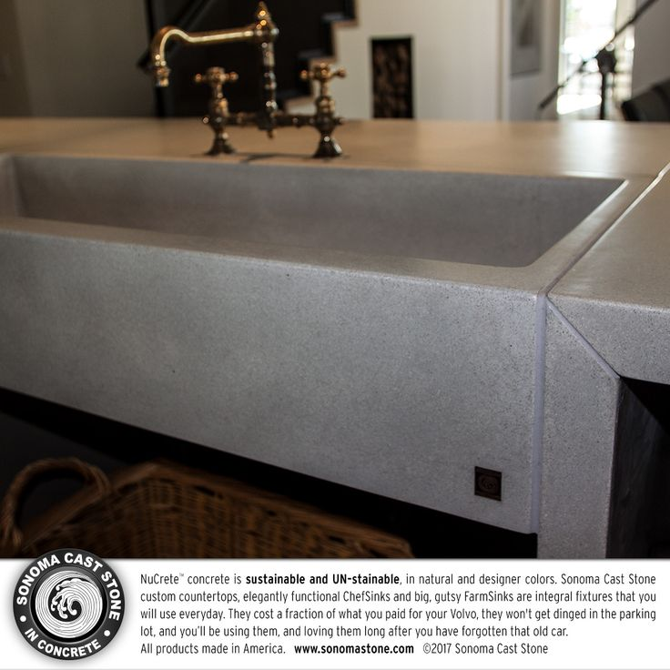 Magnificent chef sinks and gutsy farm sinks–you'll #love #sonomacaststone #concrete #sinks. Award-winning, #luxury designs to be the center of your kitchen, which is the center of your #home. Our NuCrete™️ concrete is sustainable and UN-stainable, guaranteed for ten years. Choose style, size, basins, natural and designer colors. All #countertops, #sinks, #tiles, #tubs and #fireplaces made in the US. #homedecor #decor #interiordesign #architecture #bathroom  Get info…