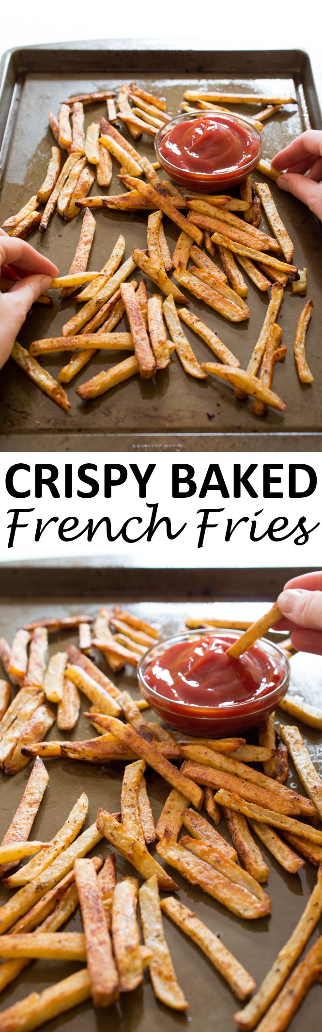 Super Crispy Baked French Fries. Soft and fluffy on the inside, extra crispy on the outside. These are fries you can feel good about eating! | chefsavvy.com #recipe #french #fries #snack #appetizer