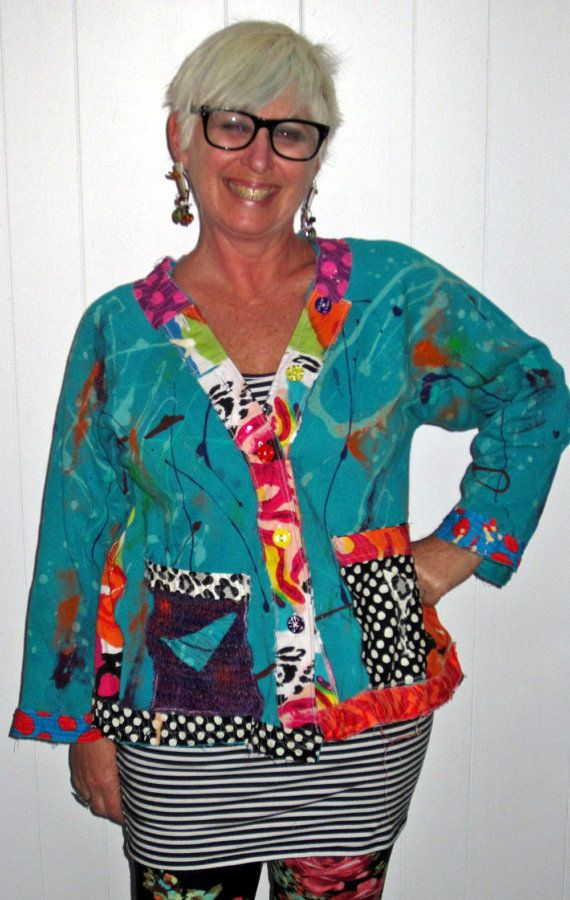 Wannabe Artist Jacket hand painted Upcycled fits by monapaints, $229.00