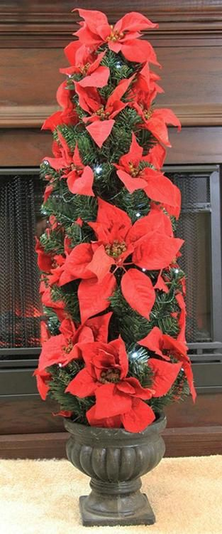 3' Pre-Lit B/O Red Artificial Poinsettia Potted Christmas Tree - Clear LED