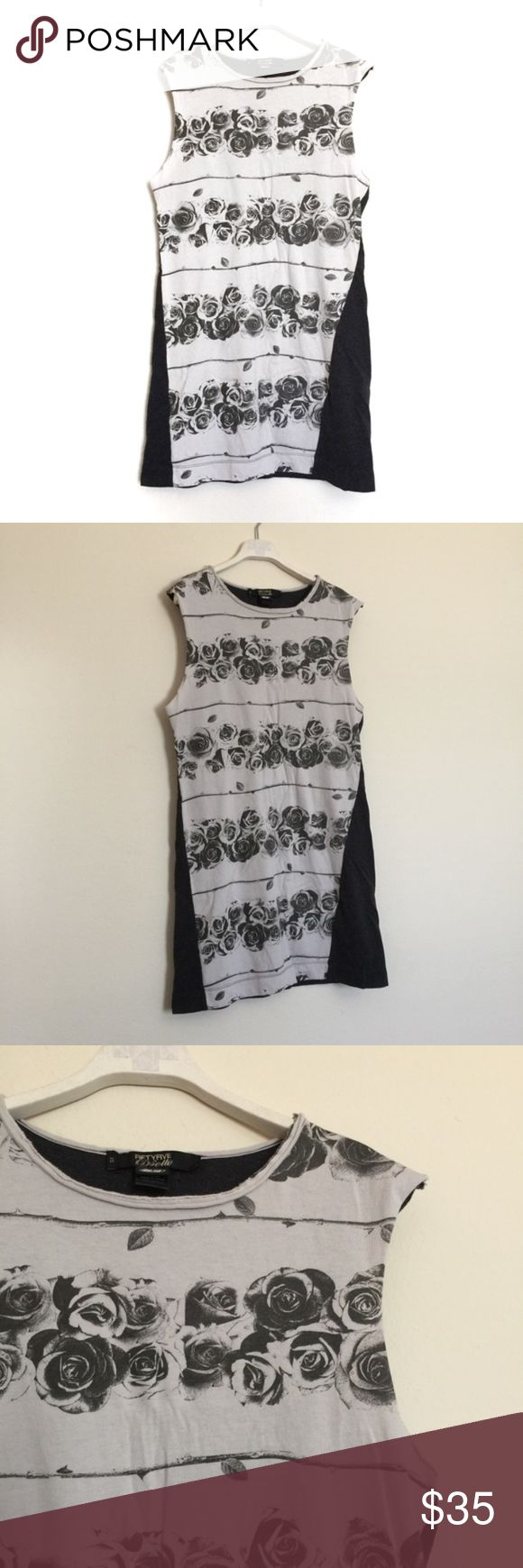 """Diesel 55 grey cream rose floral stripe dress XS Diesel 55 grey cream rose floral stripe dress, new with tags. Tunic dress with vintage rose print pattern, sleeveless with scoop neck. Pit to pit 18"""", length 33"""". 100% cotton. Diesel Dresses"""