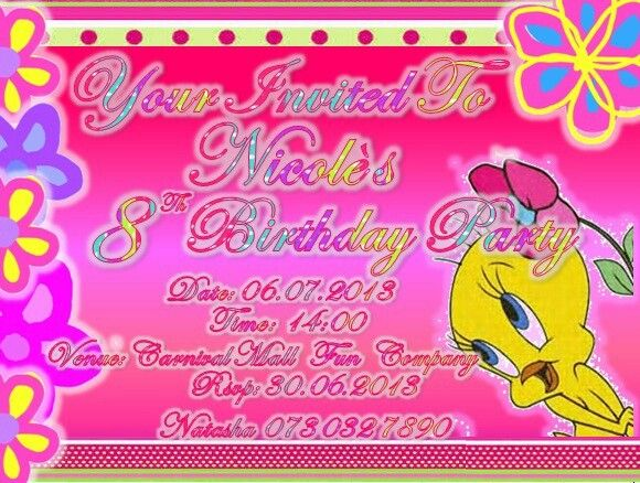 This is a Post Card Invitation, I printed it back to front, with a a girly design on the front, and party details on the back .