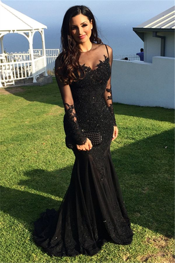 Prom Dresses,Long-Sleeve Tulle Black Applique Mermaid Sexy Evening