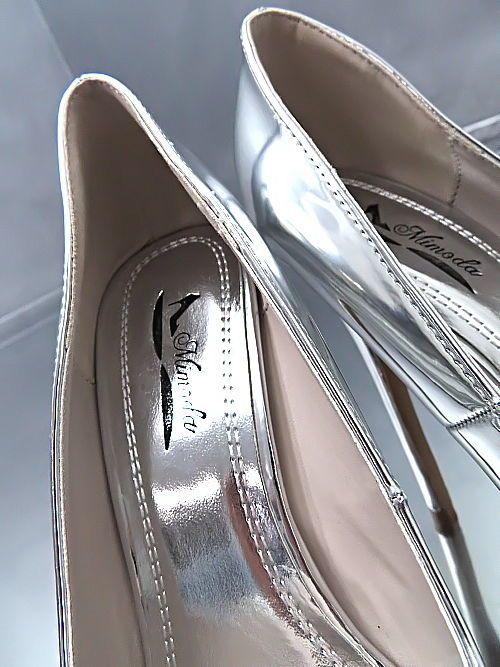 LACK HOHE PUMPS SILBER NEU Plateau Damen Elegant N36 Schuhe Metallic High Heels