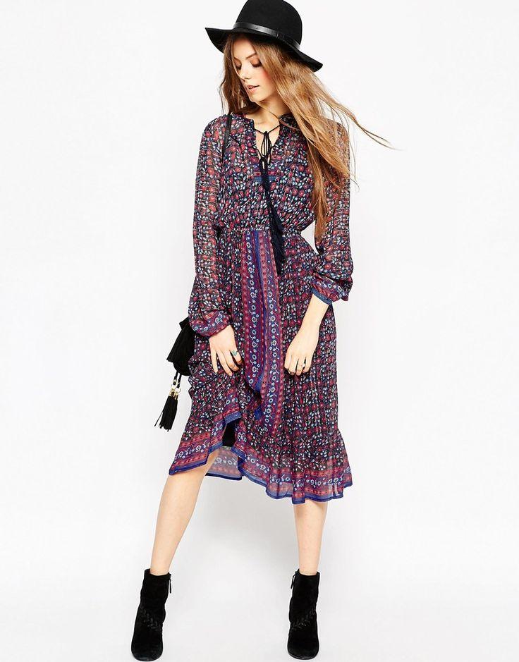 Image 4 ofASOS Folk Midi Dress In Metallic Thread