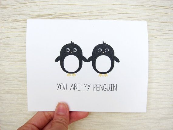 cute penguin valentine's card