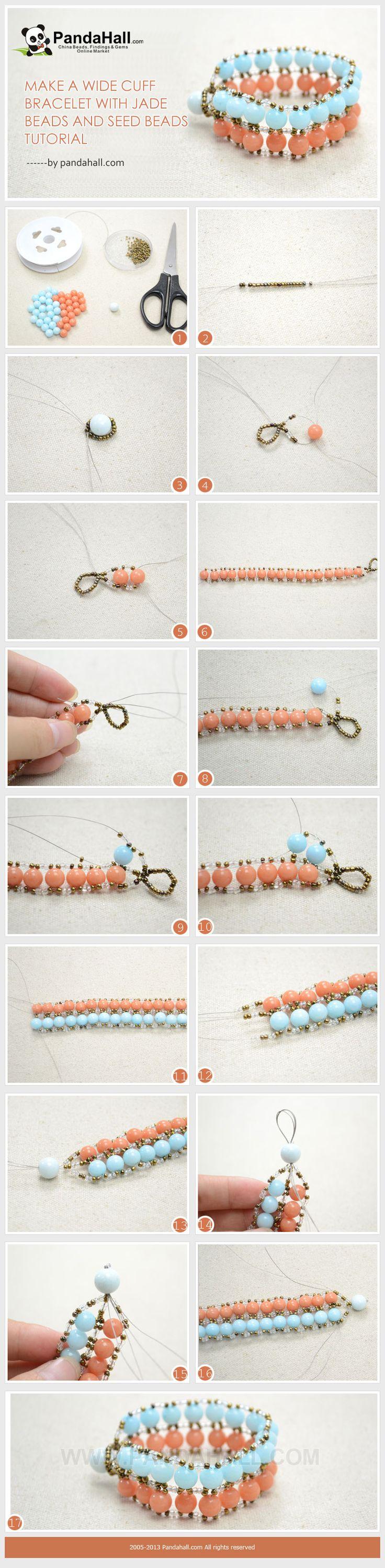 Make a Wide Cuff Bracelet with Jade Beads and Seed Beads Tutorial ༺✿ƬⱤღ  http://www.pinterest.com/teretegui/✿༻