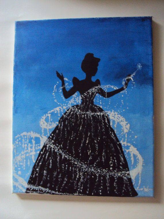 Disney princess cinderella canvas love the idea for a little girls room. Could add glitter to silhouette pictures