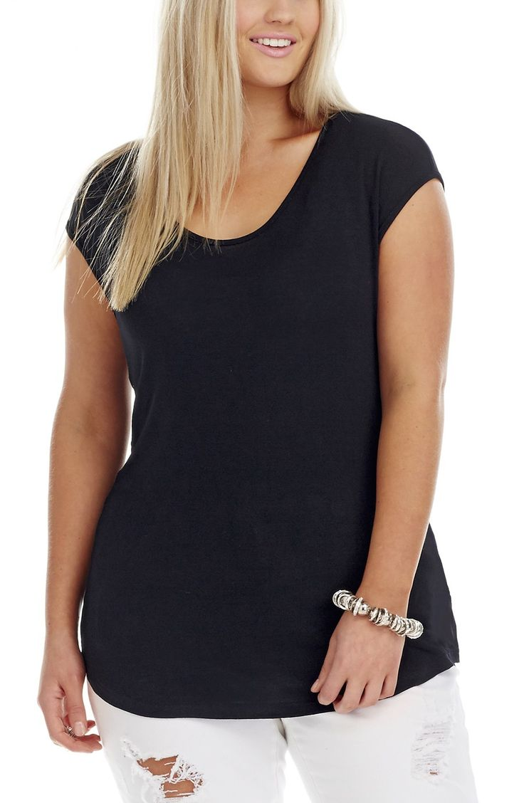 Back Panel Detail Top - black - Style No: T1490 Elastane Knit fabric Top. This cap sleeve Top has a back panel Detail and a shaped hemline. #dreamdiva #dreamdivafiles #fashion #plussize