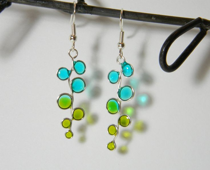 blue and green stained glass resin earrings by TreasureRocks on Etsy