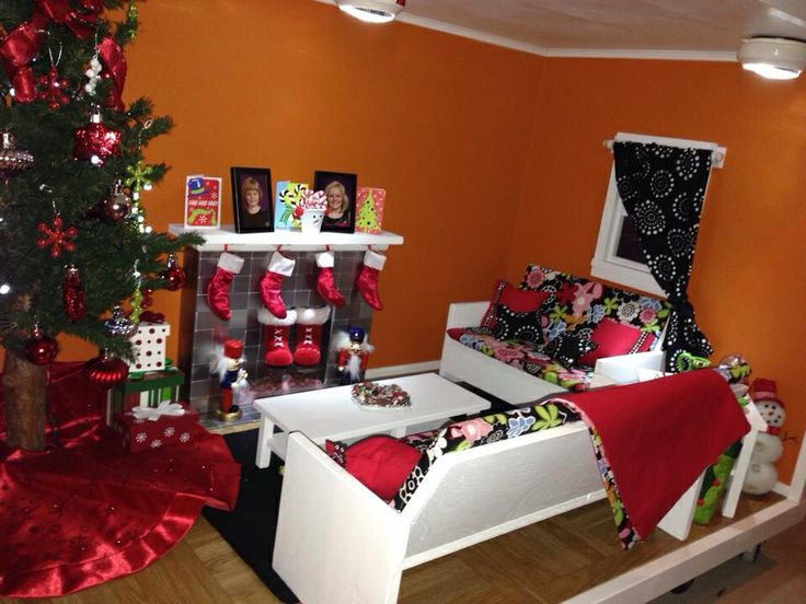Finished living room in American Girl Doll house. All decorated for  Christmas morning. - 127 Best Images About Living Room DIY And Inspiration For American
