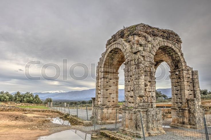 Stock image of 'Roman Arch of Caparra, (1st-2nd century AD). Crossroad ancient city ruins at Silver Route, Via de la Plata, Caceres, Spain'