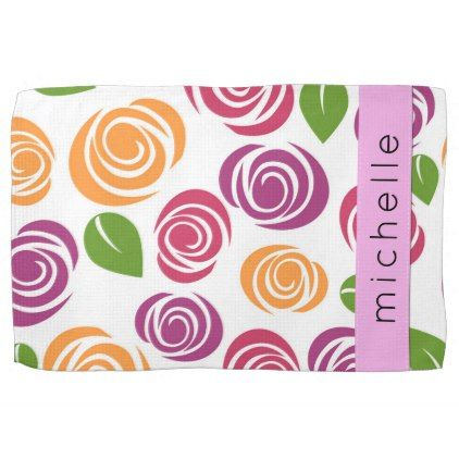 Your Name - Flowers Blossoms - Orange Pink Purple Hand Towel - purple floral style gifts flower flowers diy customize unique