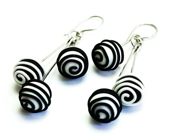 Black and white Stainless Steel and Polymer Clay Earrings balls, Swirl earrings…