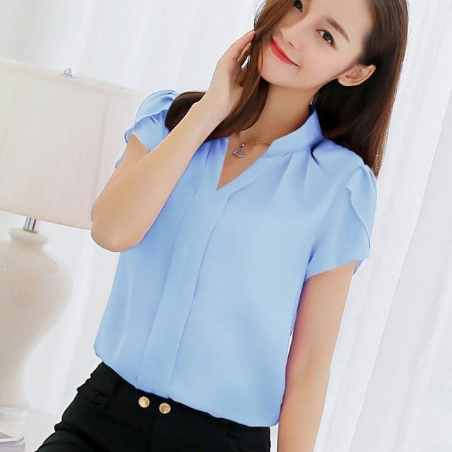 c434a9f7dd969 Women Shirt Chiffon Blouse Femininas Tops Short Sleeve Elegant Ladies  Formal Office Blouse Plus Size 3XL