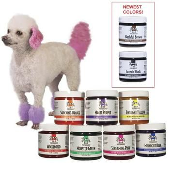 """""""Top Performance Dog Hair Dye Gels at Baxterboo"""" I need to do this to Chester for Aprils Fools Day!!!"""