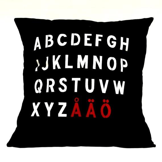 SWEDEN Pillow Cover  Swedish Alphabet by linneaswedishdesign,