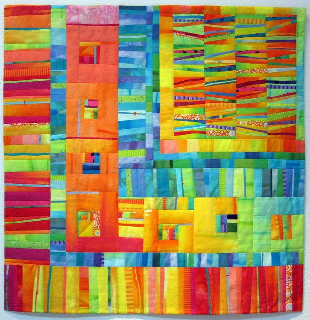 """Melody Johnstone - Bon Bon #4  Hand dyed and commercial cottons, fused and machine quilted  34.5x35"""""""