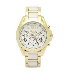 Geneva Shshd Platinum Women's Gold/White Metal Strap Watch