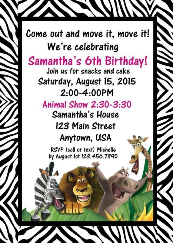 Jungle Birthday Invitation, Jungle Birthday, Invitations, Zebra, Madagascar