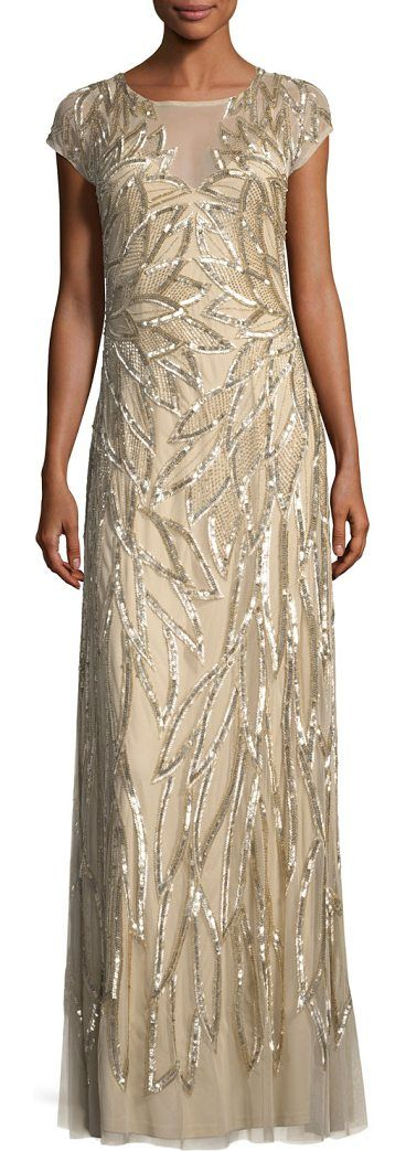 "Embellished Leaf-Motif Short-Sleeve Gown by Aidan Mattox. Aidan Mattox embellished leaf-motif long evening gown. Approx. 57""L down center back. Round neckline; button-keyhole back. Short sleeves. Column silhouette. Hidden back zip. Floor-length hem. Polyester self and lining. Spot clean. Imported. #aidanmattox #dresses #gowns"