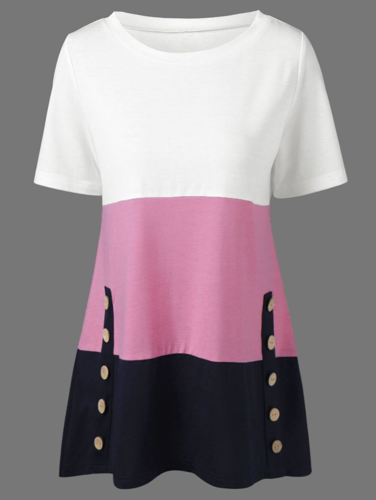 Button Embellished T-Shirt in Colormix | Sammydress.com