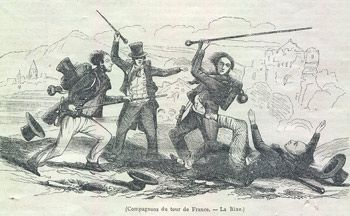 "An illustration of a Compagnons fight from the newspaper L'Illustration, 1845. The staves were very long walking sticks; topped with a horn, wood or ivory knob. Many corporations would hire the services of a Baton master who would teach them to use it, or even fight for them. Journeymen would get their noms de guerres from such fights such as Martinet dit Poitevin ""l'Exterminateur des Margageats""."