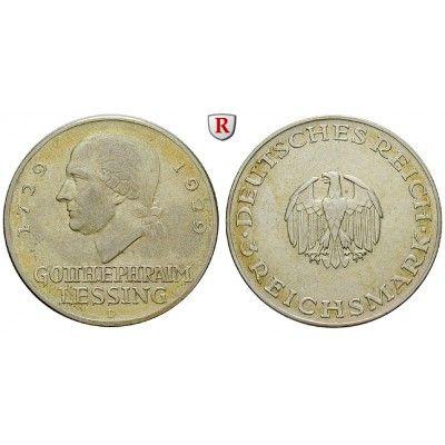 Weimarer Republik, 3 Reichsmark 1929, Lessing, D, ss-vz, J. 335: 3 Reichsmark 1929 D. Lessing. J. 335; sehr schön - vorzüglich 55,00… #coins