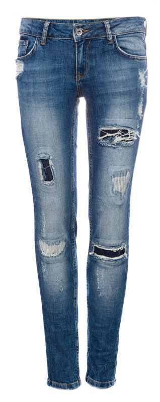 RIPPED AND DARNED SKINNY JEANS WITH PATCHES - JEANS - WOMAN - PULL&BEAR Greece