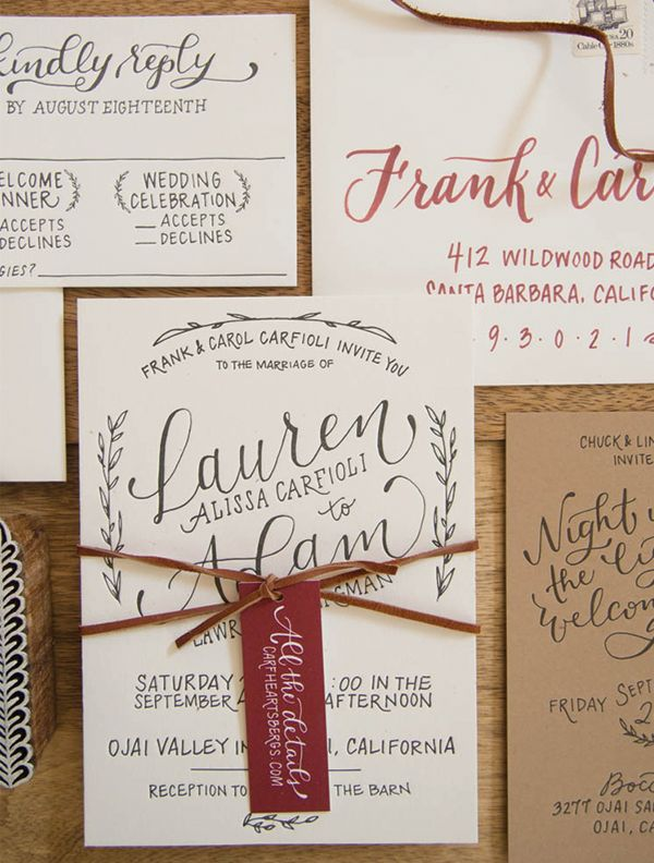 Letterpress Rustic Hand Lettered #Wedding Invitations with Burgundy Details: http://ohsobeautifulpaper.com/2015/02/adam-laurens-rustic-hand-lettered-wedding-invitations/ | Design + Photo: Bright Room Studio | Invitation Letterpress Printing: Mercurio Brothers | Ketubah Screen Printing: Jill Fawcett/Studio Mamas
