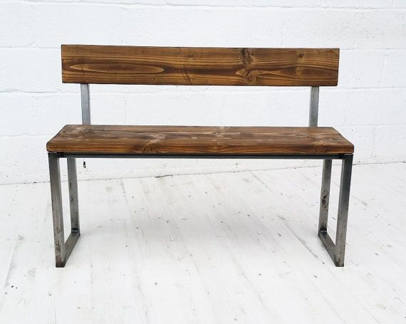 Vintage industrial bench with back. by InnovationCreationUK