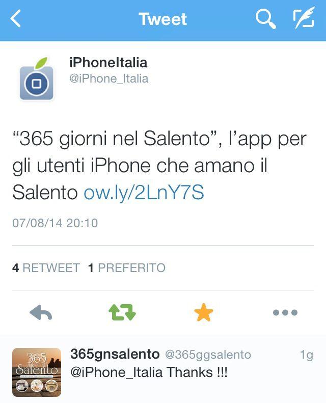 IPhone_Italia Twitter per per 365 giorni nel Salento App