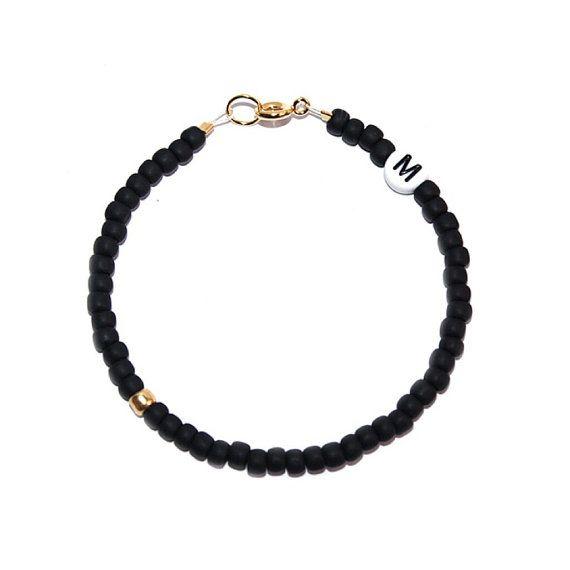 CUSTOM // Matte Black and Gold Seed Bead Bracelet by ShopGuyBlanco // Japanese premium seed bead bracelet // Initial // Letter Bead Bracelet // Guy Blanco // www.guyblanco.com