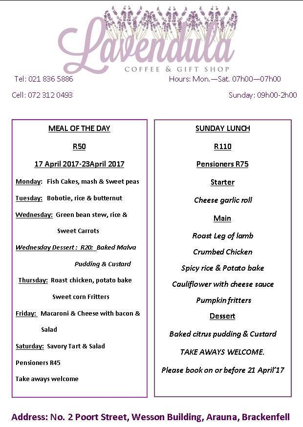 #Lavendula Coffee & Gift Shop's menu for this week. For more info, phone 021 836 5886.