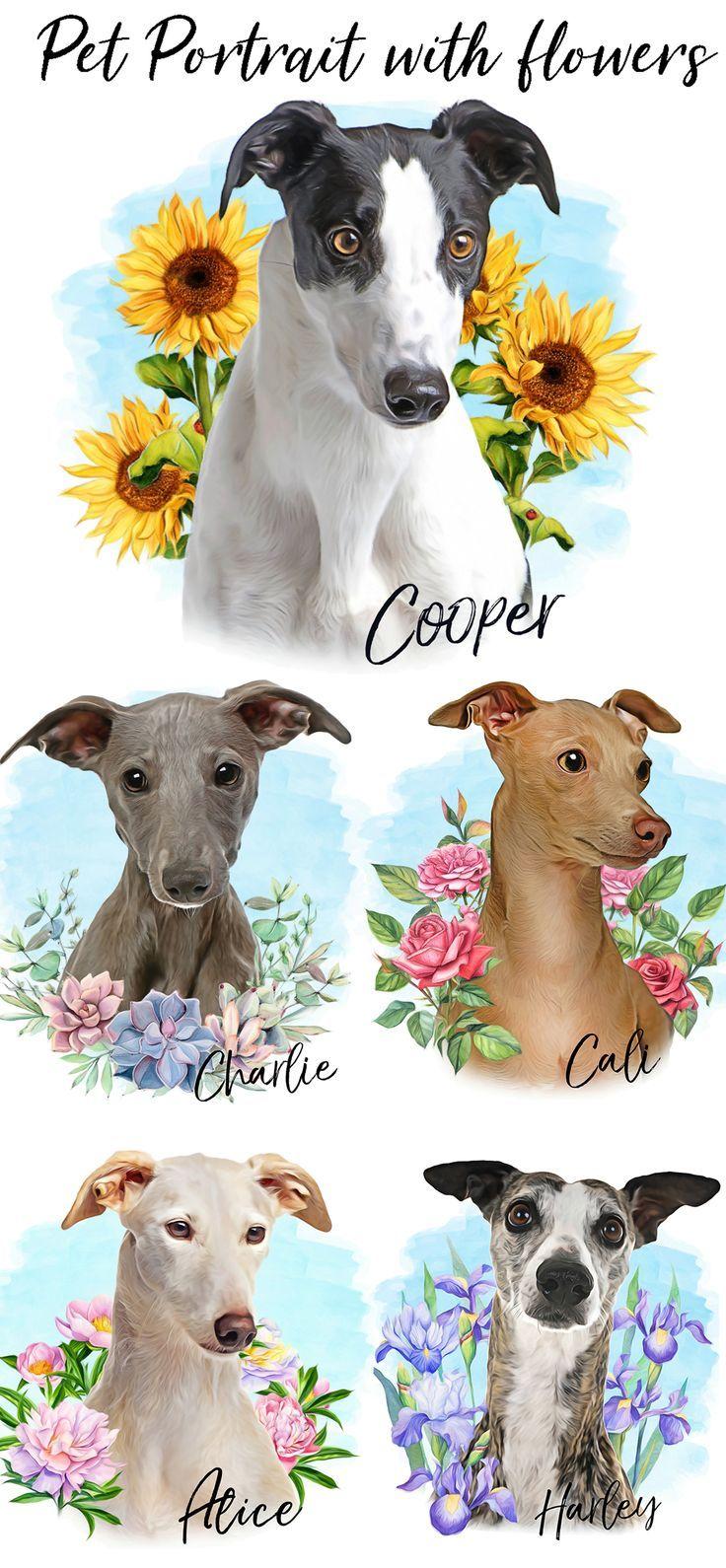 Custom Digital Pet Portrait,Dog Portrait custom,Whippet