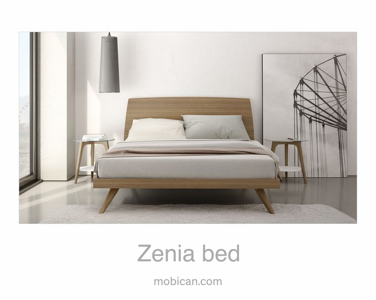 Click here to see Mobican's Zenia bed   Cliquez ici pour voir le lit Zenia de Mobican: http://mobican.com/zenia/ #mobican #HPMKT #bed #bedroom #wood #madeincanada #contemporary #furniture