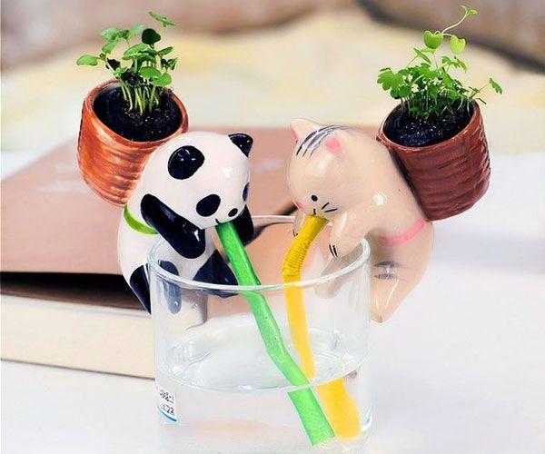 Cute Animal Self Watering Plant Pot - #Cool #Planters | CoolShitiBuy.com