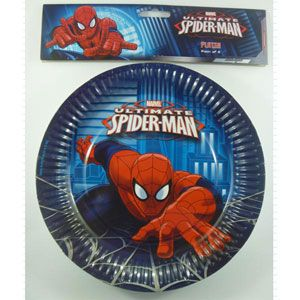 1080 - Spiderman Plates. Pack of 8 Spiderman Ultimate Paper Plates, 23cm Diamater - Pack of 8