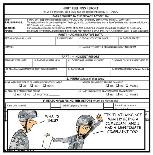 Retired army msg mark baker began penning pvt murphy s law for Hurt feelings report template