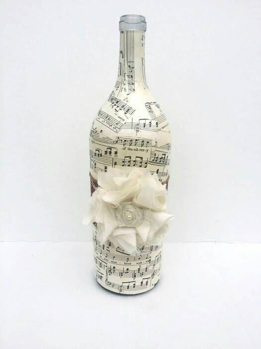 Sheet Music Decoupage Large Wine Bottle, Handmade Altered Bottle, Vintage Sheet Music Decorative Vase, Large Fabric Flower Shabby Home Decor