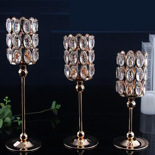 Home Candle Holder Crystal Wedding Candle Stand For Table Centerpieces Light Christmas Decor Candlesticks Metal Crafts Tealight Candle Holders Wedding Crystal Candle Holder Crystal Candles