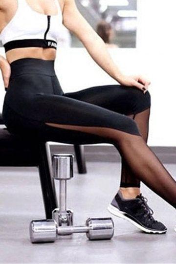 Blake See Through Detail Fashion Sport Leggings - US$15.95 -YOINS