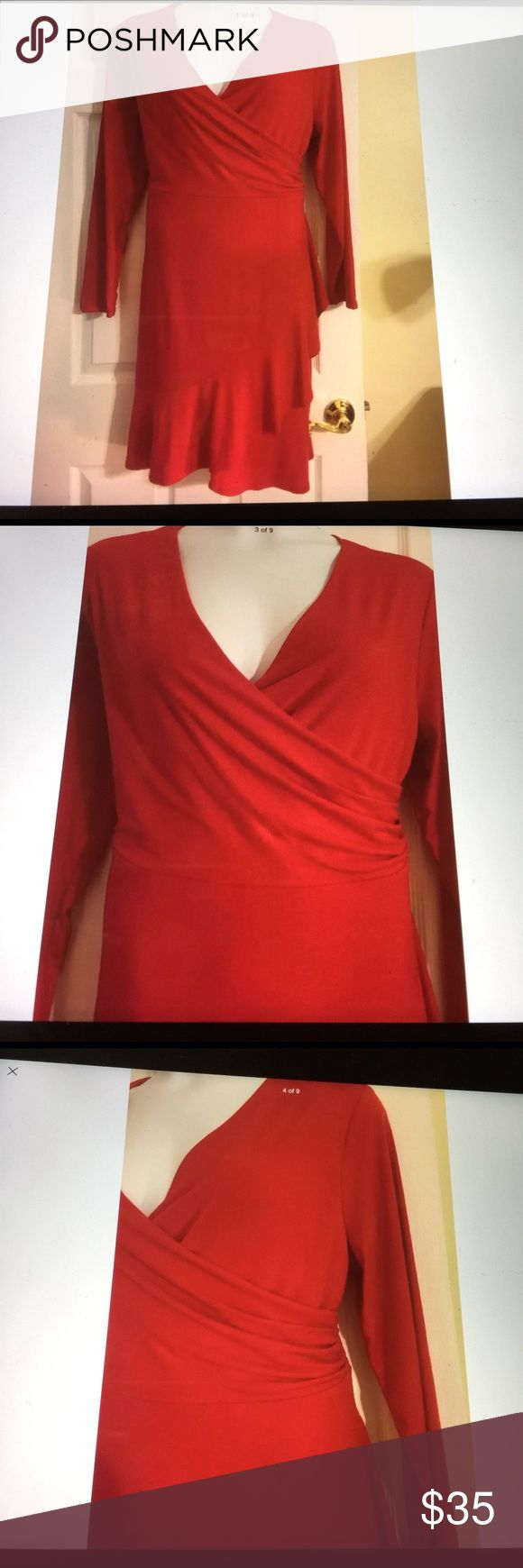 Covington women's wrap ruffle dress plus 3XUSA red This woman's wrap effect dress is a fashionable foundation for dressing up or dress down. This red dress offers a flattering fit with a surplice neck that forms a deep v neckline. Originally $70 plus tax. Covington Dresses Mini